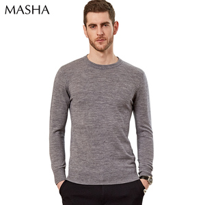 Design of hand made round neck long sleeves merino wool sweater design for men