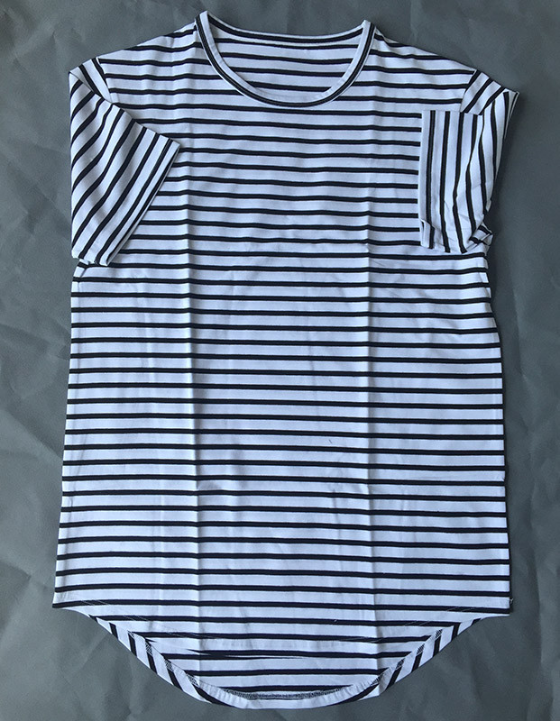 2017 China supplier men cheap cotton white striped O-neck long line t shir
