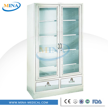 Mina Mc002 Stainless Steel Glass Door Display Cabinetmedical