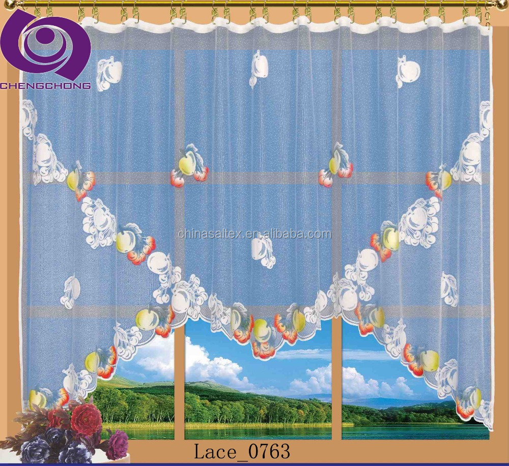High Quality Polyester Printed Lace Kitchen Window Shower Cafe bar Curtain Fabric Ready Made Curtains