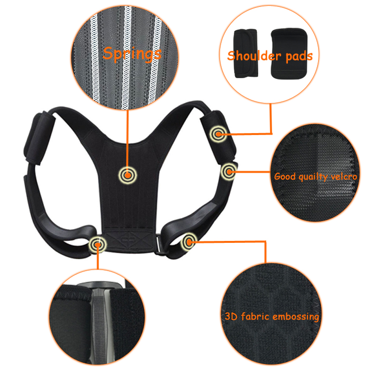 Hot Sale New Design Adjustable Posture Corrector Posture Corrective Brace Posture Back Support Belt, Black or customized color