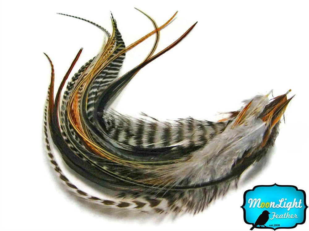 Hair Extension Feathers, Rooster Feathers - Natural Combo Mix Long Grizzly Rooster Hair Extension Feathers - 10 Pieces