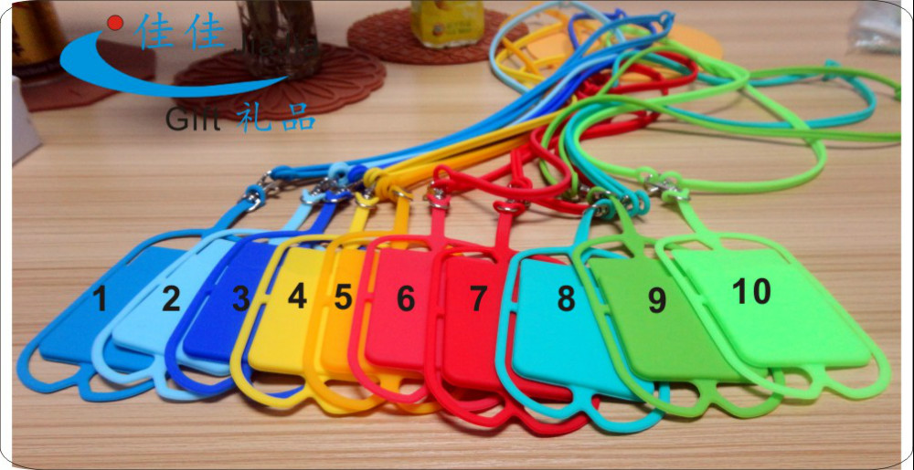 Elastic silicone cell phone lanyard with card holder