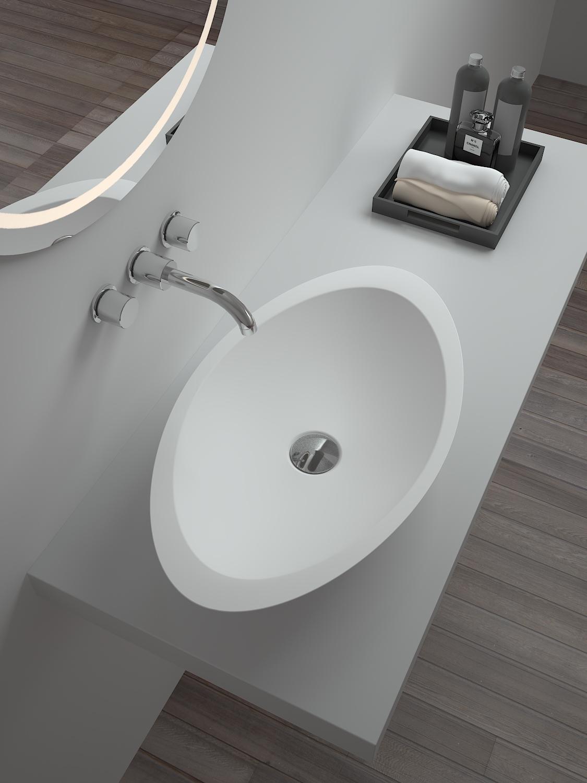 Sm 8314 China Glass Bowl Solid Surface Bathroom Countertop Basin