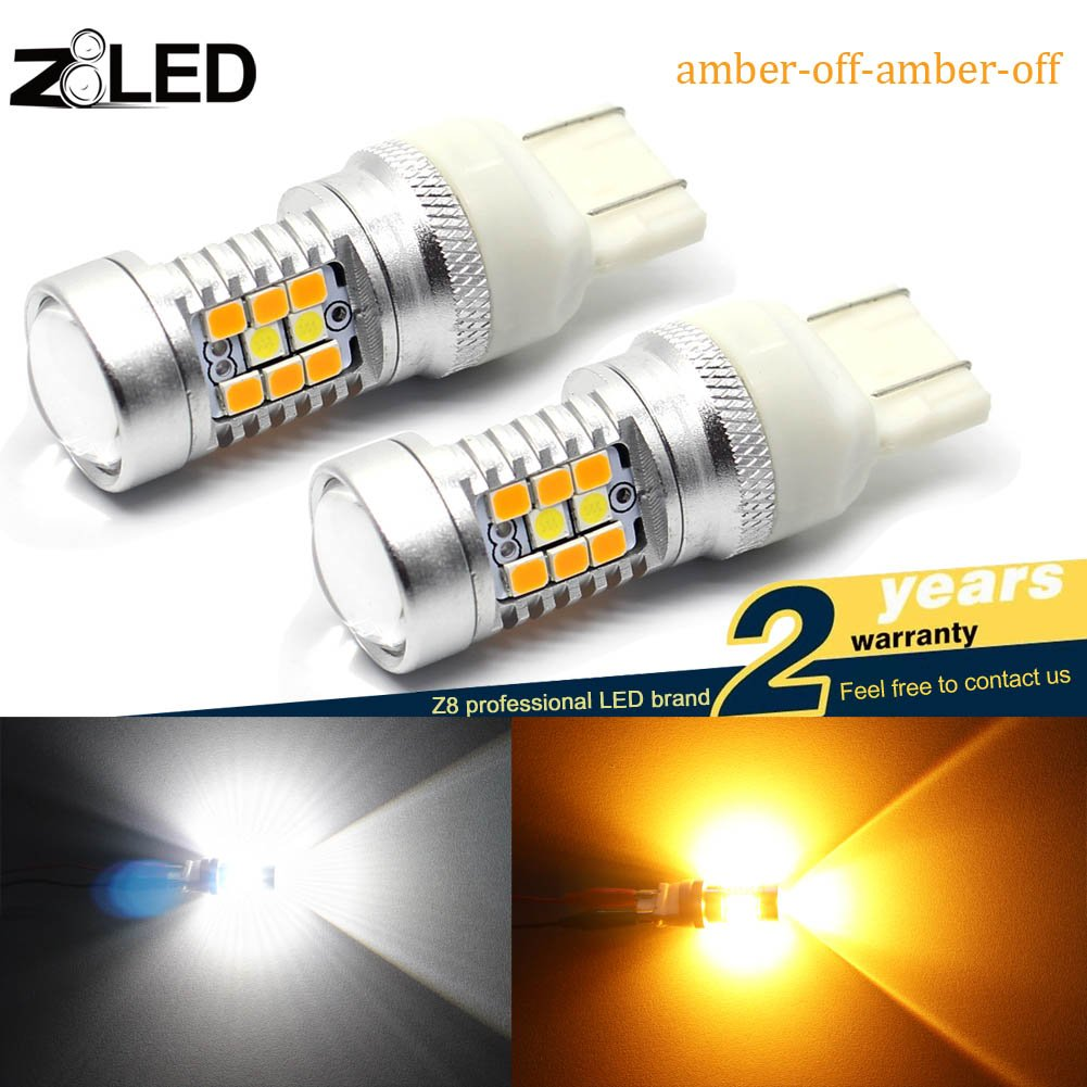 Top Quality Z8LED Super Bright White/amber Switch back Bulbs 7441 7440 7443 7444 992 (T20 Double-filamen) for Turn Signal Lights/ Drl bulb (brightest Switchback Bulb in the Market) (Pack of 2))
