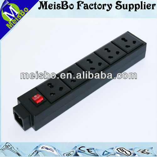 Black 5 pole individual switch power strip