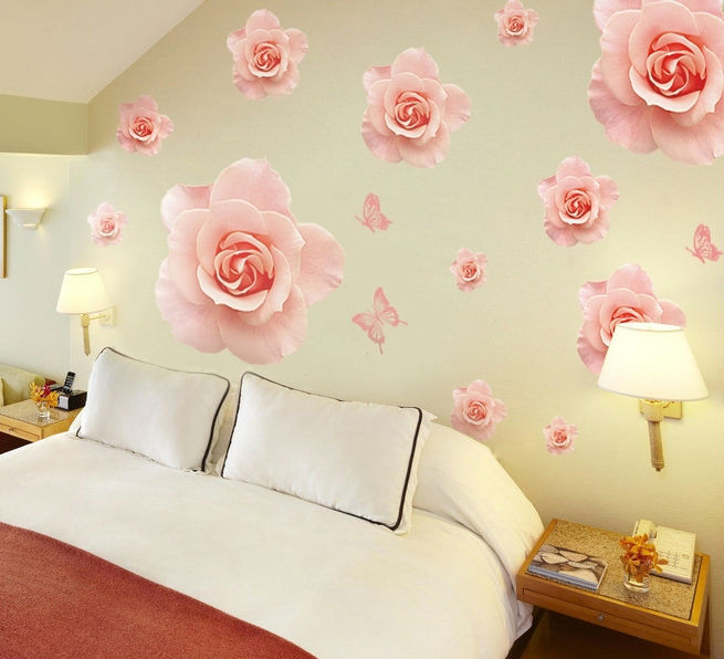 Flowers Wall Wallpapers Design For Your Bedrooms Decorating: Big Beautiful Rose Wall Stickers Decals Pink Flower