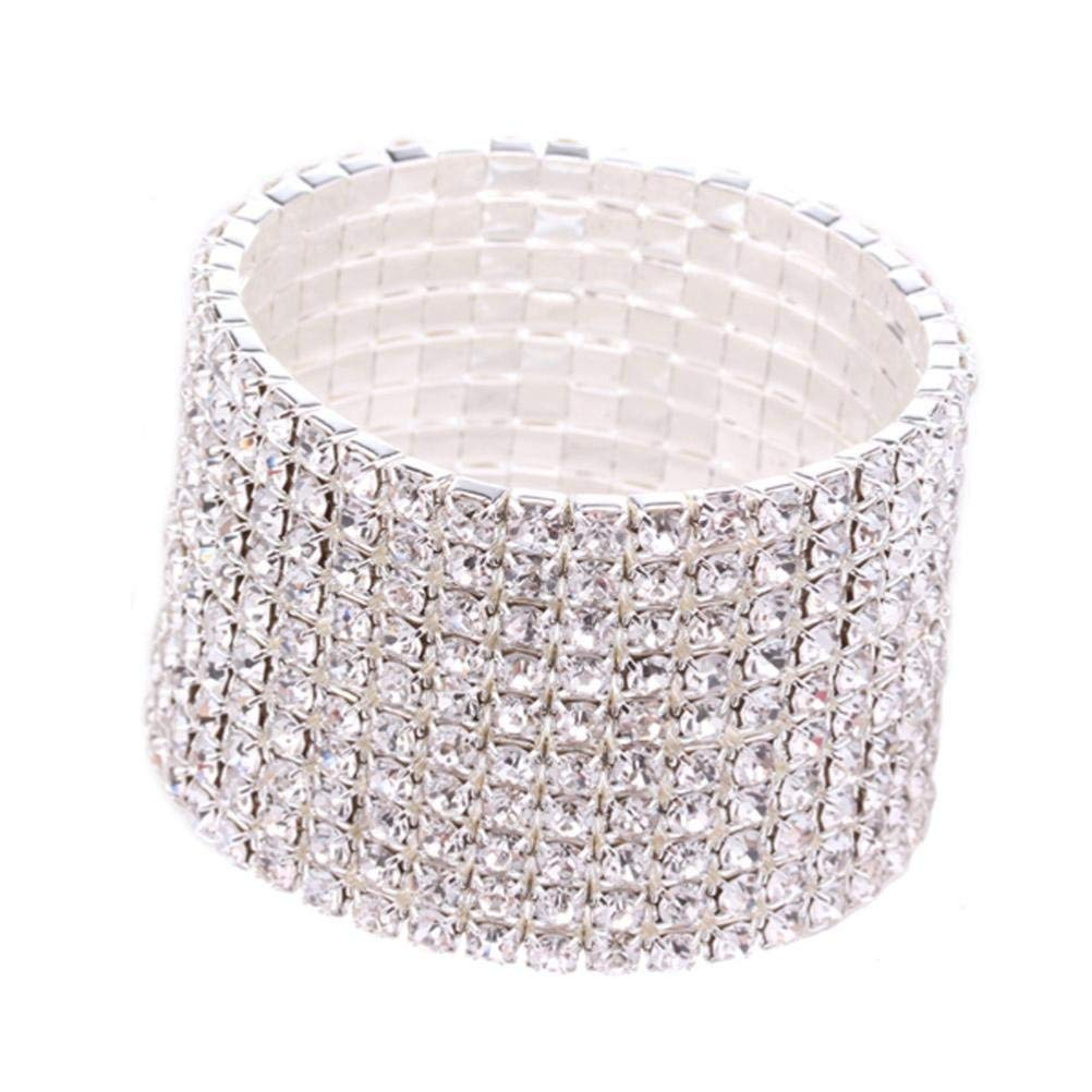 Get Quotations · Leyorie Rhinestone Stretch Silver Bracelet for Wedding  Prom Party Pageant Wide Cuff Multilayer Wristband 1dc757aea02f