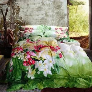 FADFAY Shabby Flower Bloom 3d Bed Set Spring Rural Floral Green Duvet Cover Queen Comforter Set Cotton Bed Sheets 4Pcs