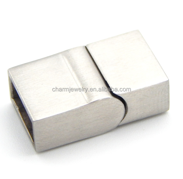 BX059 Wholesale 316L stainless steel flat magnetic clasp for leather bracelet DIY jewelry finding <strong>hole</strong> 10X5mm