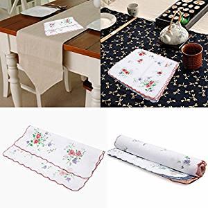 dipshop 12pcs Ladies Women Floral Pattern Handkerchief Cotton Fiber Square Tower