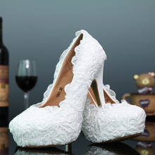 C71588A custom make ivory thin heel lace bridal wedding shoes
