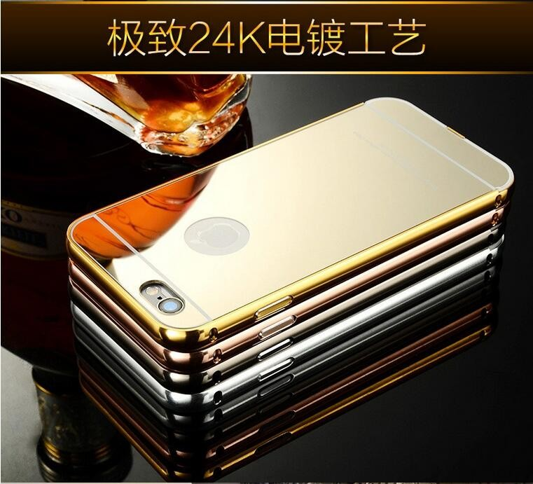 Gorgeous Luxury Silver Aluminum Mirror hard Case Cover for iPhone 6 6s Plus
