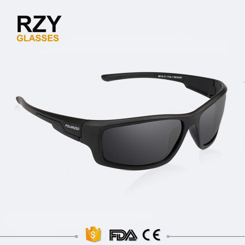 Black Men UV400 High-quality Outdoor Sport Driving Glasses PC frame comply with CE FDA Polarized Sunglasses
