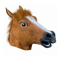 Dress Up Halloween Full Horse Head Animal Latex Mask Costume Cosplay For Masquerade