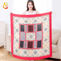 Autumn and winter new Hangzhou silk silk large square scarf ladies hand curling hot towel hood