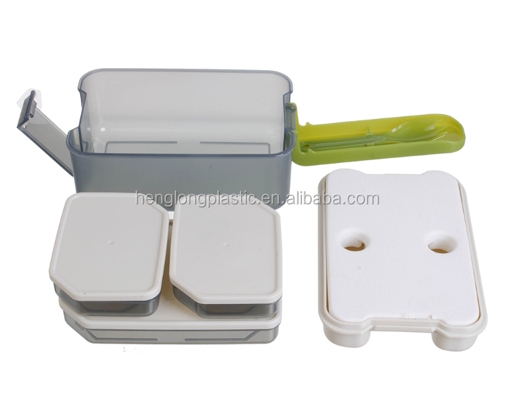 1.2L bento boxes bpa free plastic lunch box kids lunch box with ice pack and fork