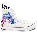 Wen Original Hand Painted Shoes Design Custom Zebra Pattern Men Women s White High Top Canvas