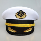 Custom embroidered white navy captain cap for navy uniform sailor cap