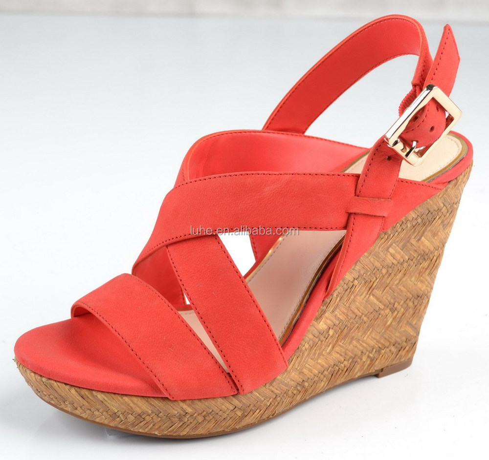 Beautiful Red Leather High Heel Wedge Sandals - Buy Matting