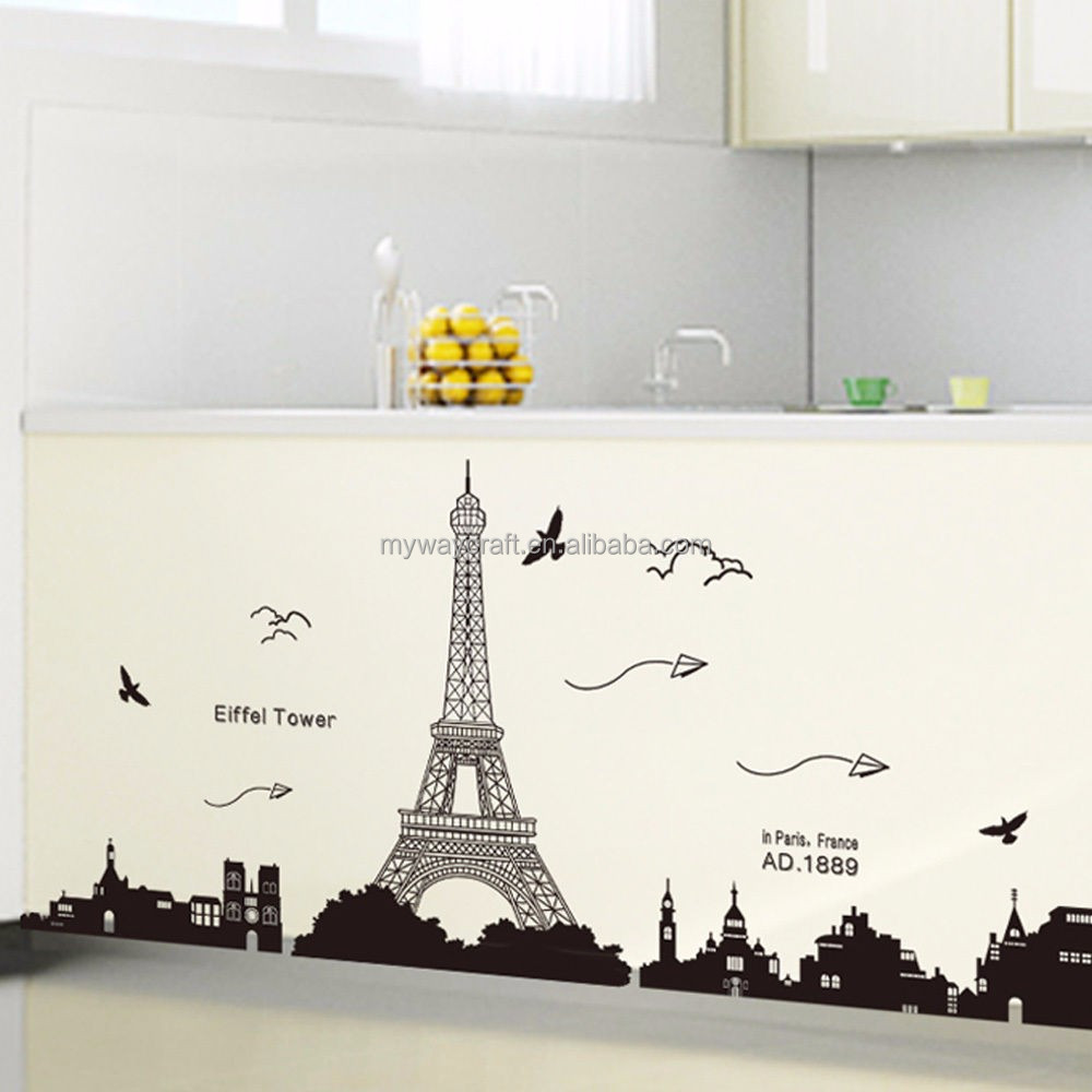 Eiffel Tower Wall Decor paris eiffel tower wall sticker home decor, paris eiffel tower