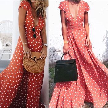 Polka Dots Long Holiday Vintage Dress Women Sexy dress Top Selling Dress