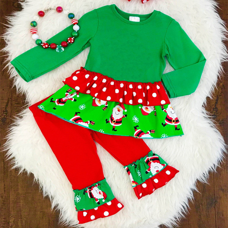 Santa Claus Pattern christmas kids clothes cute baby clothing high quality ruffle cotton christmas outfits for children