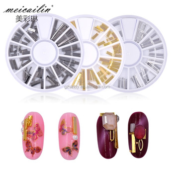 Meicailin Gold/Sliver/Grey Sliver Metal strips Rivet Nail Studs 3D Nail Art Decoration Circle Accessories in Wheel for DIY