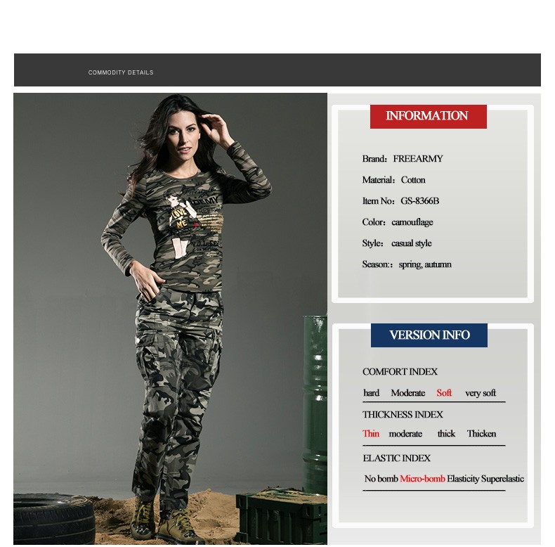 Fashion T Shirt Women Long Sleeve Spring Outdoors Camouflage Spring Autumn  Lace Stitching Round Neck Women Tops Tees Gs-8366B