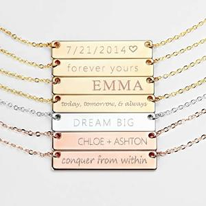 Personalized sterling silver necklace Name Plated Bar Gold Necklace Custom Silver Necklace Gifts