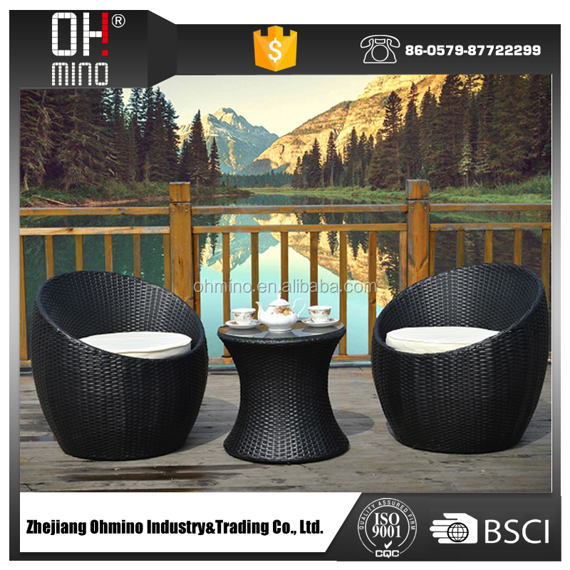 Bistro 002 Synthetic Wicker Patio Outdoor Furniture Egg Shaped Rattan Sofa Garden Table And Chairs
