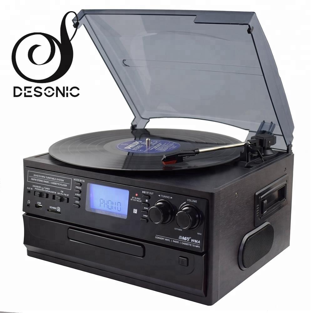 2019 MULTI AUDIO CD USB ENCODING WOODEN TURNTABLE PLAYER