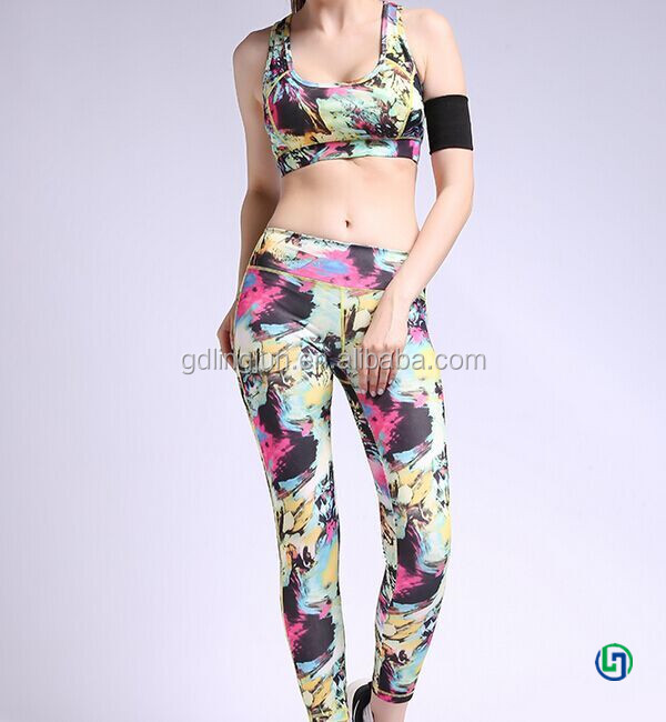 Sublimation printed women sexy fitness gym yoga wear sets / workout clothes / sportswear
