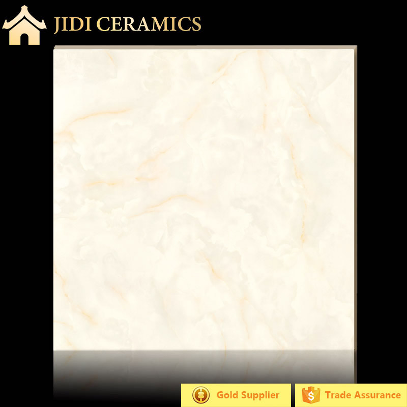 Hot sale white jade with yellow thread diamond polished glazed pocerlain tile in 80x80