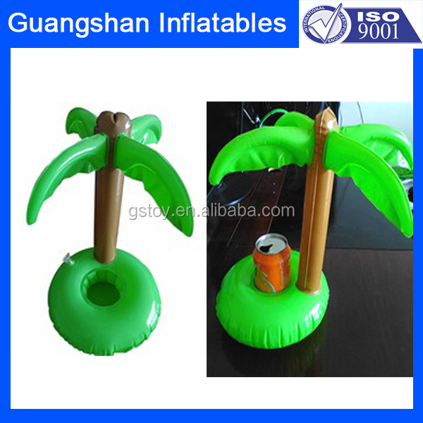 portable pool float inflatable coconut palm tree drink holder