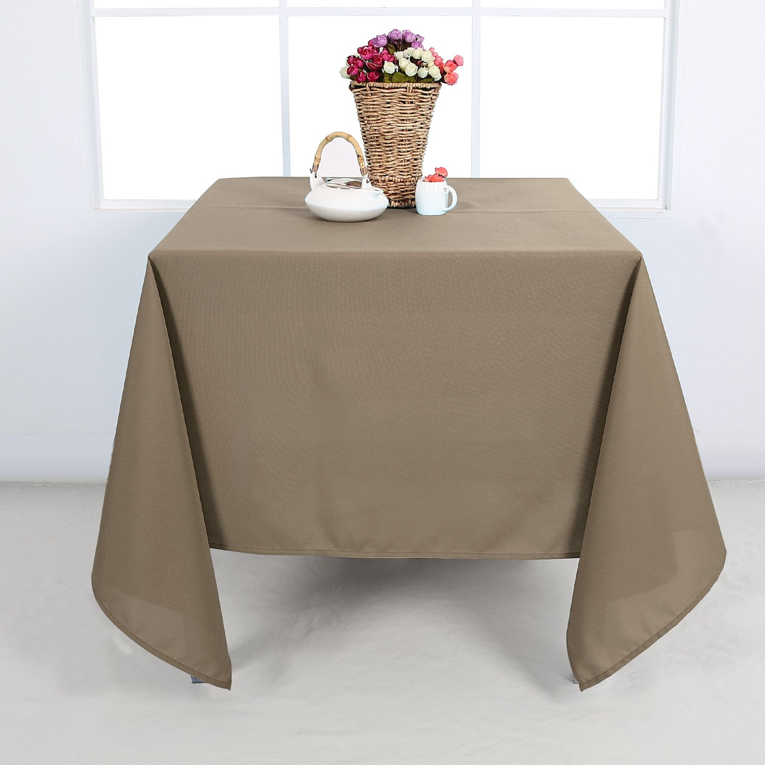 Get Quotations · Deconovo Solid Oxford Smooth Square Wrinkle Resistant  Tablecloth For Card Table 60 By 60 Inch Light