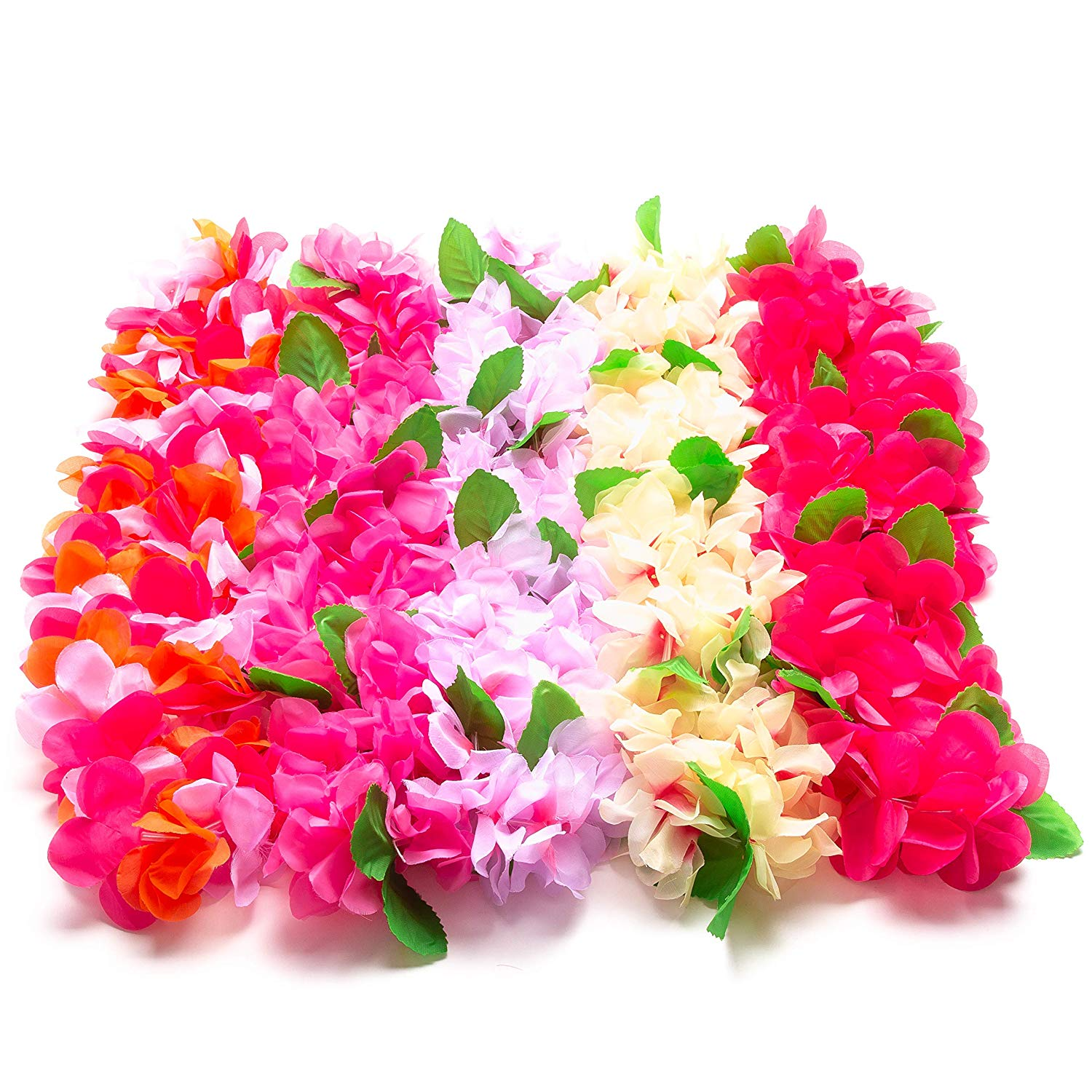 Warner Group 5 Count of The Hawaiian Leis for Luau Party, Moana Party, Tropical Hawaiian Party Decorations and Party Supplies Beach Birthday Lei Tiki Theme