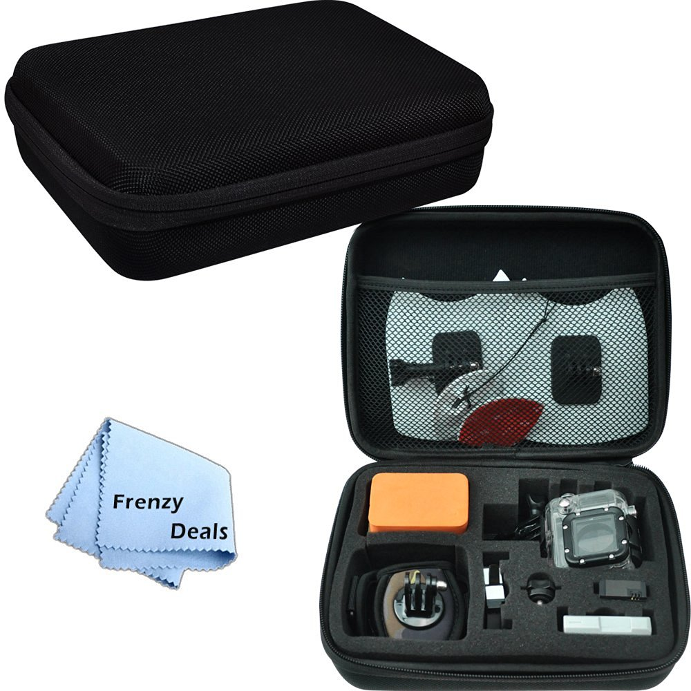 Medium Case for GoPro All HERO Cameras with Foam Cut-Outs + Frenzy Deals Microfiber Cloth