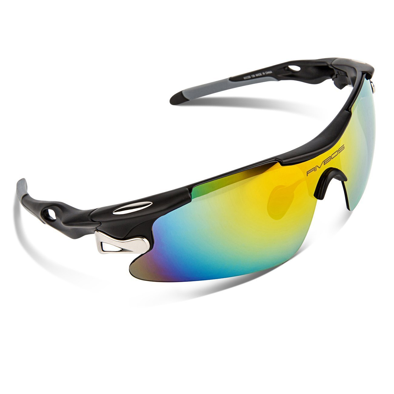 b6448eea21 Get Quotations · RIVBOS 802 Polarized Sports Sunglasses with 5 Set  Interchangeable Lenses for Cycling