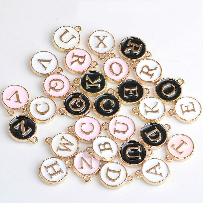 100pcs 12*14MM Round Gold Enamel Alphabet <strong>Charms</strong> Color Capital Letter Beads Initial Pendants Alloy Jewelry Making Accessories