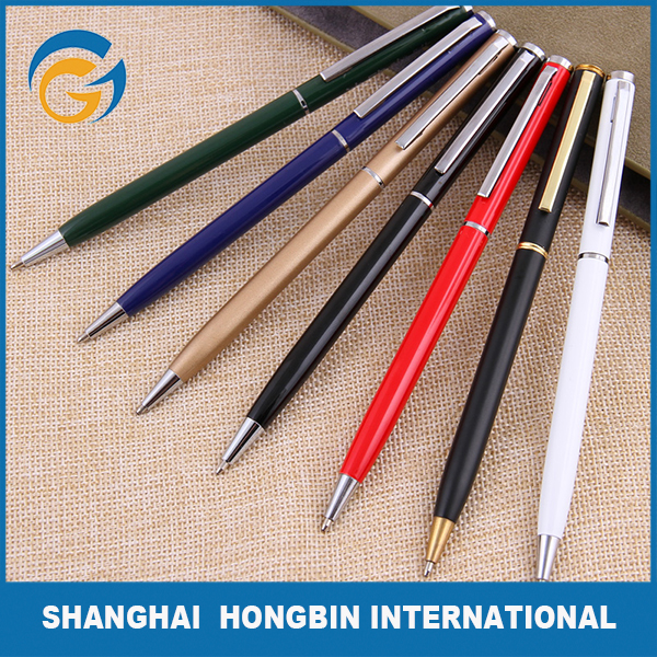 Hot Sale Colorful Slim Metal Ball Point Pen for Asia