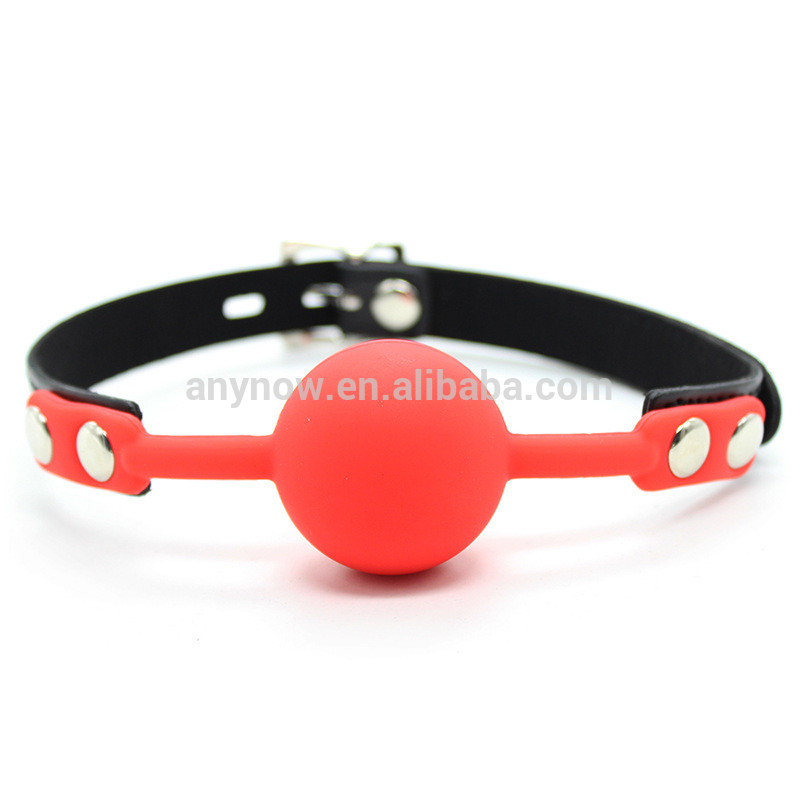Sex Toy Leather Belt bondage with Lock 4cm Soft Silicone Ball Mouth Gag