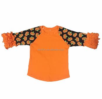 45ed619c 2017 baby girls icing halloween pumpkin raglan ruffle cotton boutique shirts  children printed 3/4
