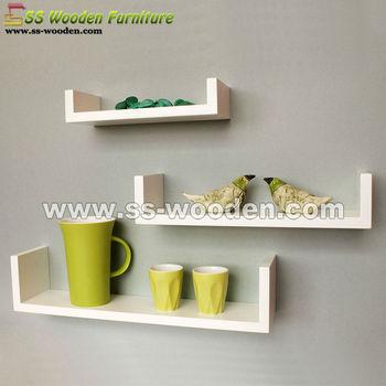 Hot U Shaped Set 3 Wooden Wall Shelf Ws 43109a C Product On Alibaba