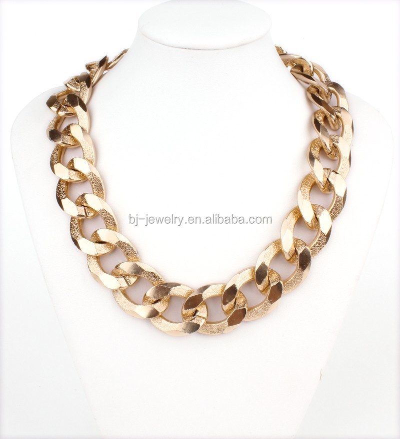 Women Jewelry Wholesale Light Gold Chunky Chain Metallic Choker Necklace
