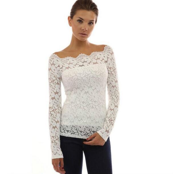 44d4e44ba83 Fashion Blusas Plus Size Autumn Sexy Women Blouses Off Shoulder Lace  Crochet Shirts Long Sleeve Slim Casual Tops Blouse