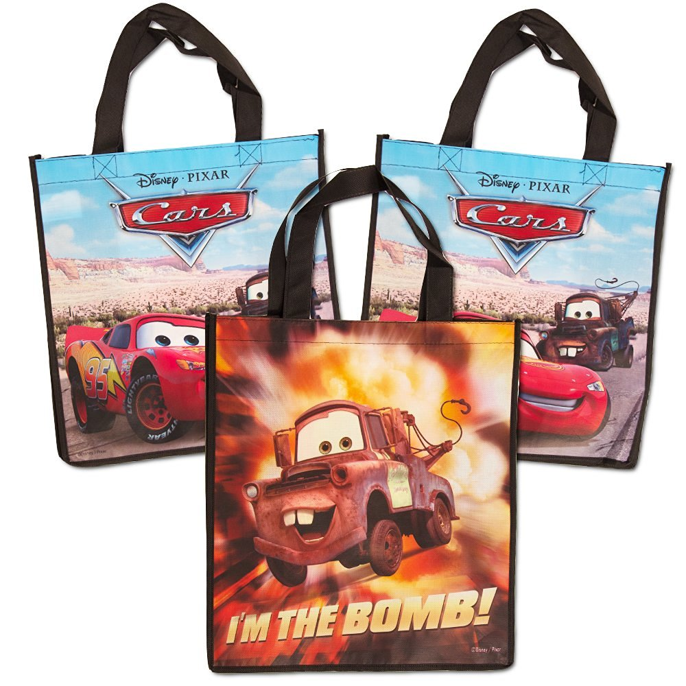Disney Cars Tote Bags Value Pack -- 3 Reusable Tote Party Bags (Featuring Lightning McQueen and Mater)
