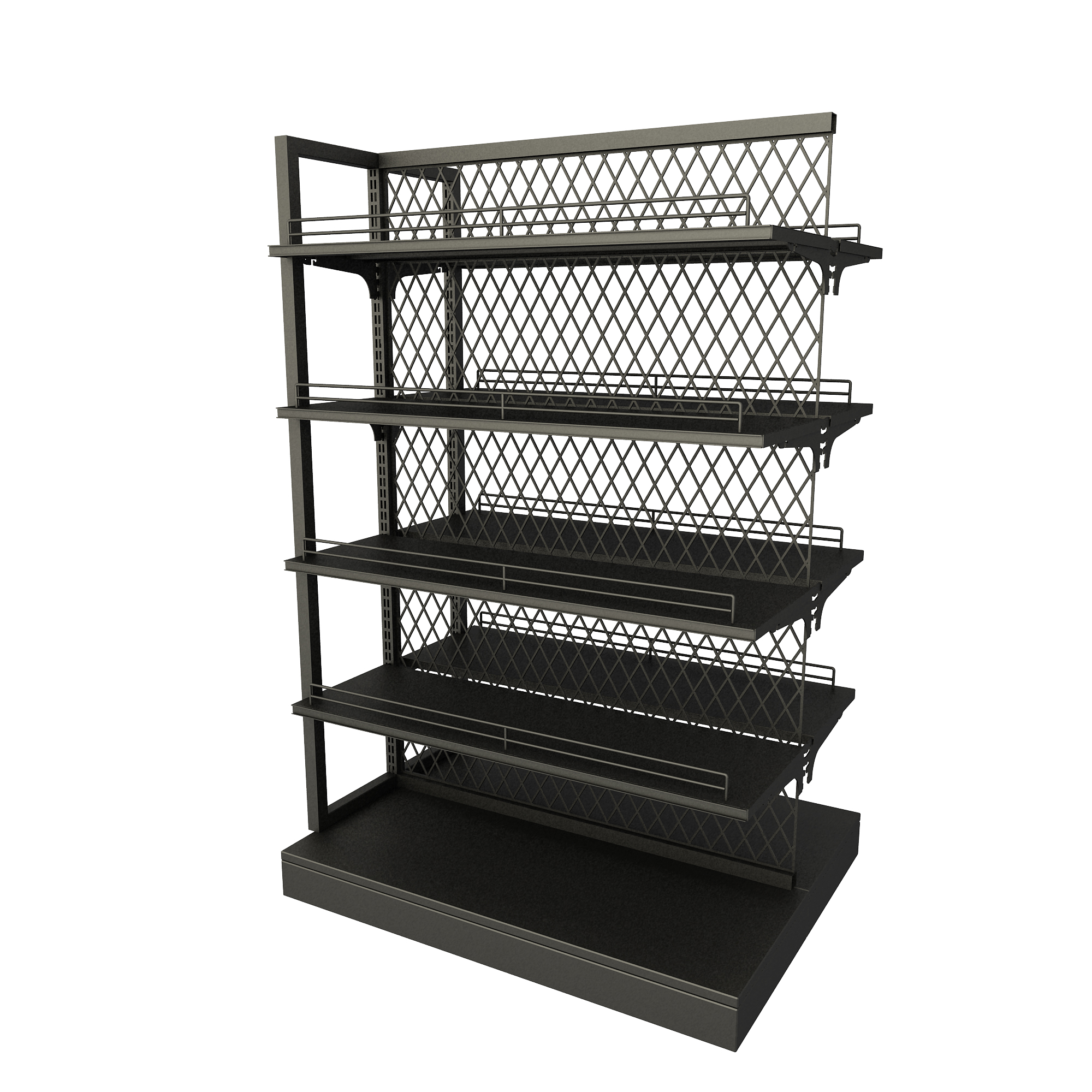Boutique supermarket gondola display shelf