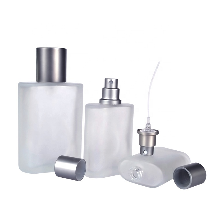New products 30ml 50ml frosted clear rectangular glass mist spray bottle for perfume