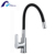 Contemporary flexible single handle hot and cold water kitchen faucet
